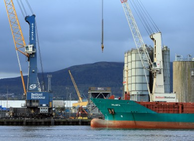 A ship arrives into the Port of Belfast.