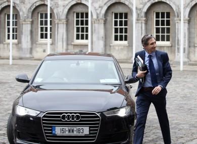 Minister Simon Harris arrives for a Cabinet meeting at Dublin Castle.