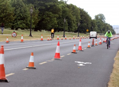 Cyclists using the new bicycle lane in the Phoenix Park Dublin