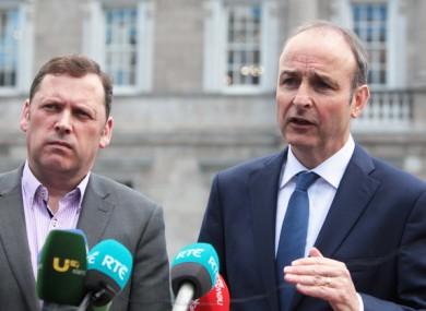 Barry Cowen, left, alongside Micheál Martin, in 2016.