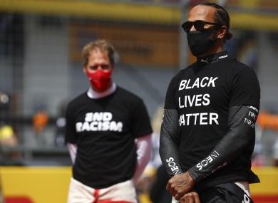 Lewis Hamilton (R) and Sebastian Vettel (L).