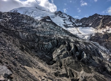 A view of the Nid d'aigle Bionnassay glacier in the Chamonix Mont Blanc region in France.