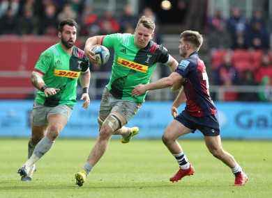 Harlequins Alex Dombrandt on the run against Bristol.