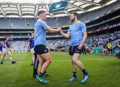 Ciarán Kilkenny and Jack McCaffrey after the 2018 Leinster semi-final.