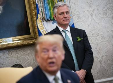 Robert O'Brien pictured with Trump on the day Leo Varadkar visited the White House in March.