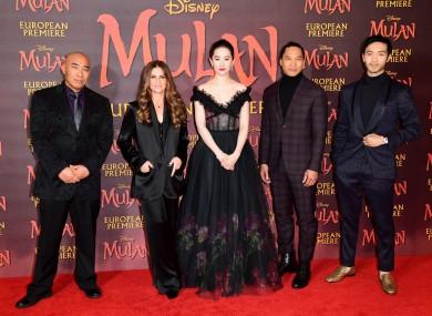 Ron Yuan, Niki Caro, Lui Yifei, Jason Scott Lee and Yoson An attending the European premiere of Disney's Mulan in March