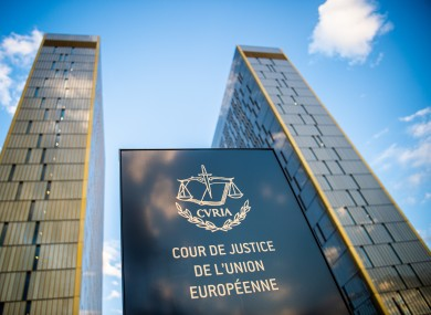 A sign in front of the office towers of the European Court of Justice.