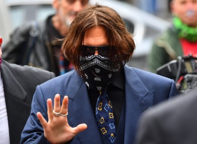 Actor Johnny Depp arrives at the High Court in London.