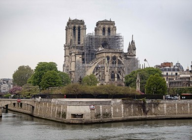 The Notre Dame Cathedral in Paris following the fire last year.