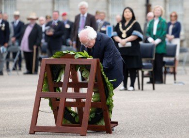 President Michael D Higgins at Collins Barracks in Dublin today.