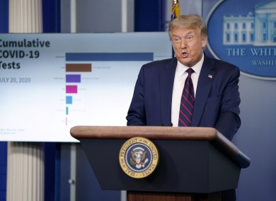 US President Donald Trump speaks during a news conference at the White House