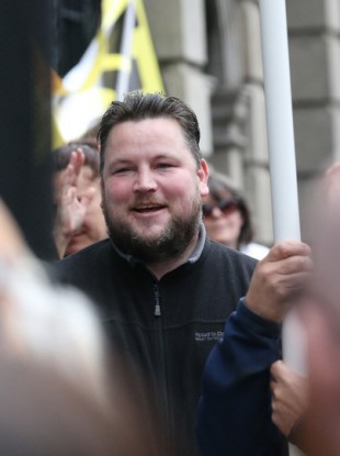 Connors at the Dáil protest on 11 July.