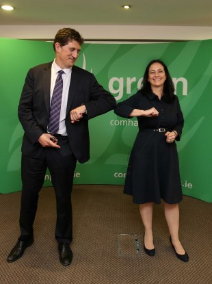 Eamon Ryan and Catherine Martin in Brooks Hotel, Dublin this evening ahead of the announcement.
