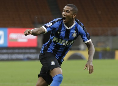 Inter Milan's Ashley Young celebrates after scoring.