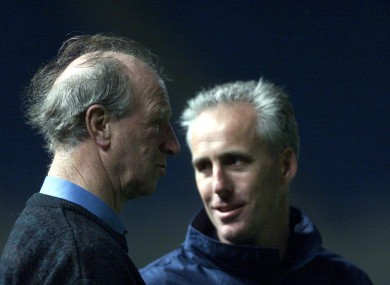 Jack Charlton with Mick McCarthy.