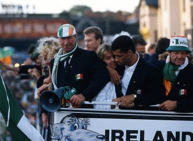 His finest hour: welcomed home to Dublin after Italia 90.