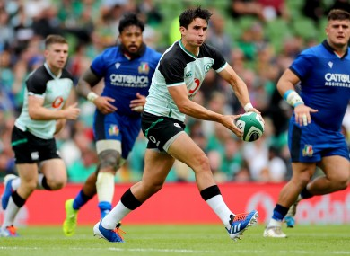 Joey Carbery on the attack when Ireland hosted Italy last August.