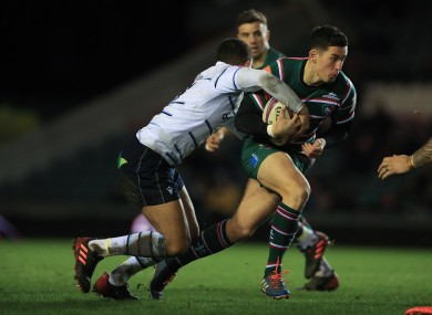 Noel Reid is tackled by Cardiff Blues' Ben Thomas in a match earlier this year.