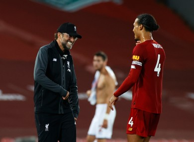 Liverpool boss Jurgen Klopp with Virgil Van Dijk