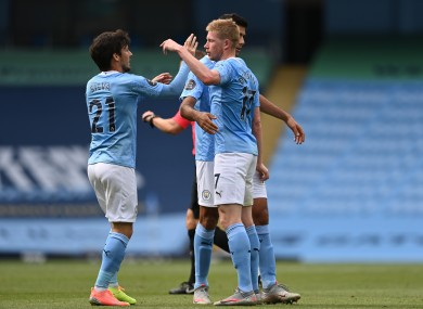 David Silva and Kevin De Bruyne celebrate during yesterday's game.