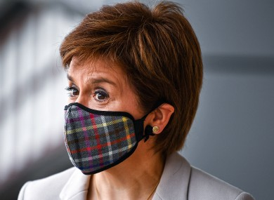 Scottish First Minister Nicola Sturgeon wearing a face mask during a visit to Fort Kinnaird Retail Park in Edinburgh last week.