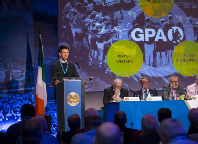 GPA chairperson Seamus Hickey pictured speaking at the GAA Congress.