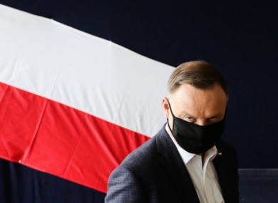 President of Poland, Andrzej Duda, before he cast his vote in the election.