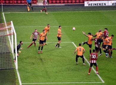 John Egan scores a last-minute winner against Wolves.