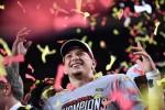 Kansas City Chiefs quarterback and Super Bowl MVP Patrick Mahomes celebrates after the Chiefs won Super Bowl LIV.