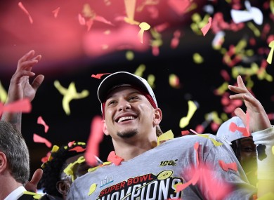 Kansas City Chiefs quarterback and Super Bowl MVP Patrick Mahomes celebrates after the Chiefs won Super Bowl LIV.