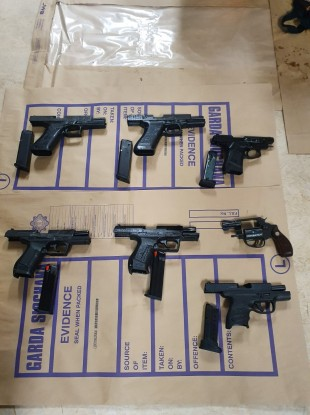 The seven firearms seized by gardaí in west Dublin yesterday.