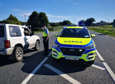 A garda checkpoint in Tullamore on Saturday afternoon.