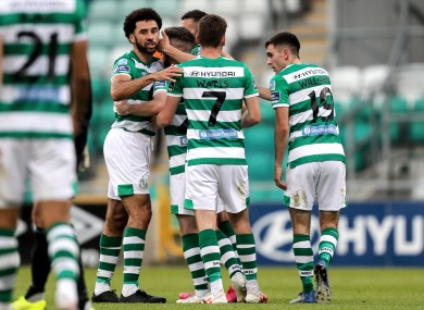 Lafferty is congratulated by team-mates.