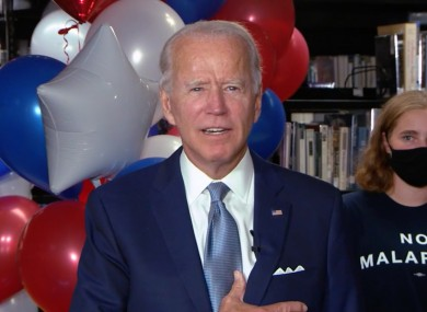 Former Vice President Joe Biden acknowledges the votes that gave him the 2020 Democratic Party nomination for President of the US.