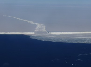 A fracture in the ice at the front of the Ross Ice Shelf in Antarctica.