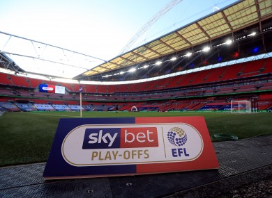 Sky Bet EFL branding pitch side during the 2019/20 Championship play-off final at Wembley.