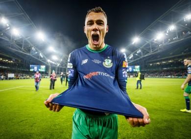 Graham Burke celebrates after the 2019 FAI Cup final.