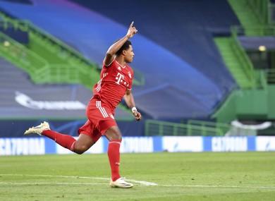 Serge Gnabry celebrates a goal against Lyon.