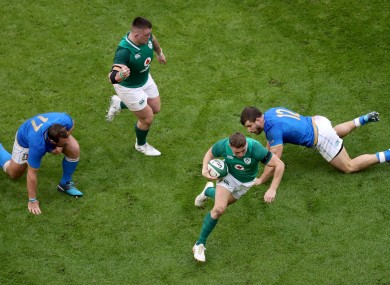 Jordan Larmour in action for Ireland against Italy in the 2018 Six Nations.