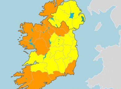 Counties in the south and west have been issued with a Status Orange rainfall warning.