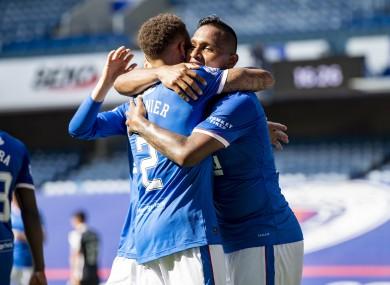 Rangers' Alfredo Morelos celebrates scoring yesterday with team-mate James Tavernie.