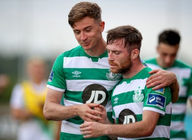 Shamrock Rovers players Ronan Finn and Jack Byrne after yesterday's game with Derry City.