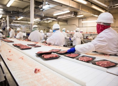 File Photo: Meat factory workers in processing plant.
