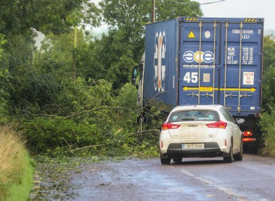 Motorists contend with downed trees on the N72 outside of Fermoy in Cork following Storm Ellen.