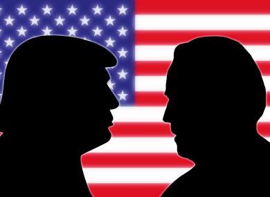 Photomontage of Trump and Biden.