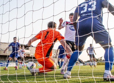 Waterford goalkeeper Tadhg Ryan is unable to save Daniel Cleary's (not pictured) equaliser.