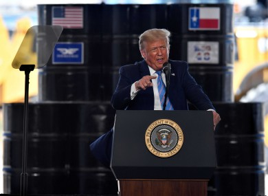 Donald Trump speaks during an appearance at Double Eagle Energy in Midland, Texas.