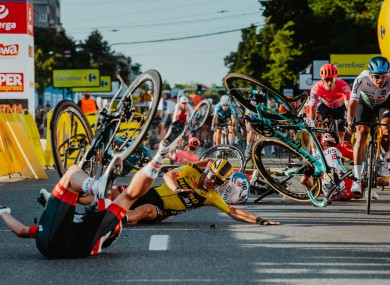 Several riders were impacted by a crash towards the end of the first stage of the Tour of Poland.