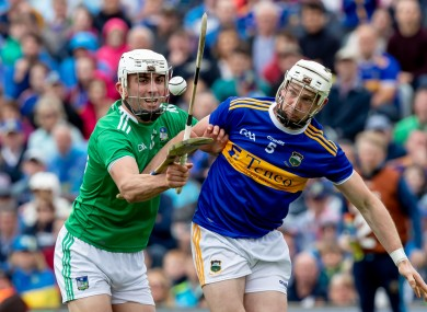 Aaron Gillane of Limerick and Tipperary's Brendan Maher battling for possession during last year's Munster SHC final.