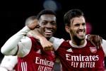 Eddie Nketiah celebrates after scoring for Arsenal.